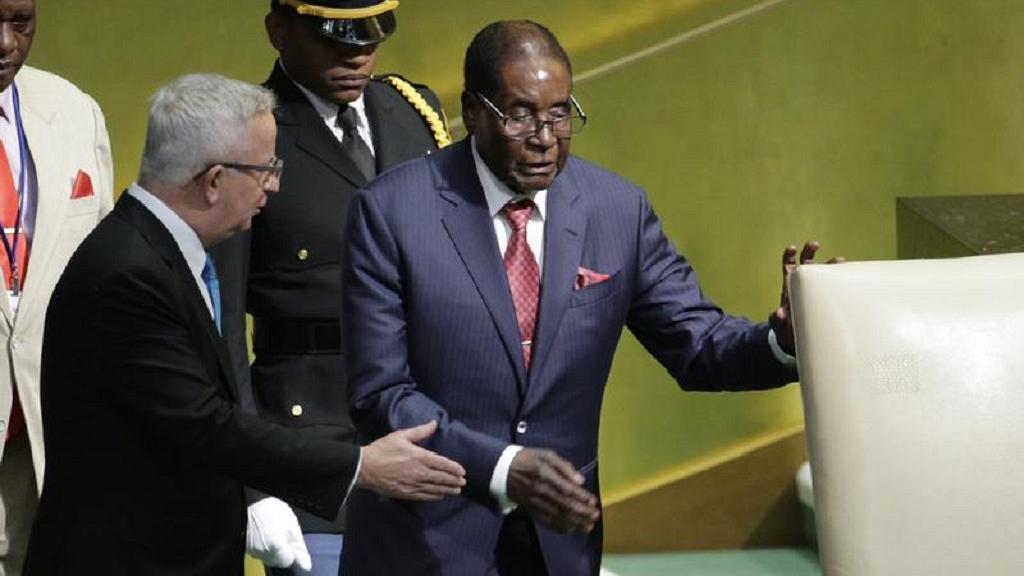 Mugabe's target was United States president, Donald Trump who he described as the 'Giant gold Goliath.'
