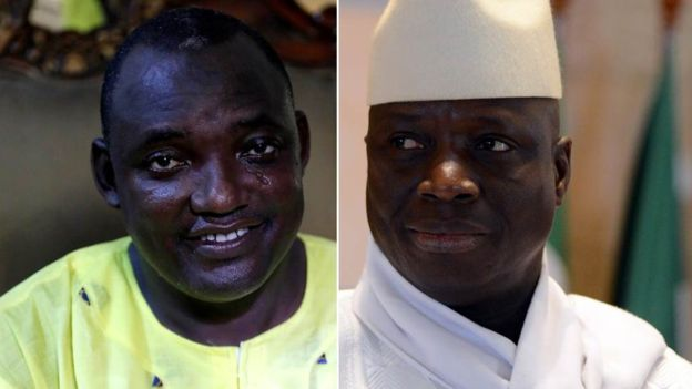 Adama Barrow, left, defeated Yahya Jammeh, right, by a small margin