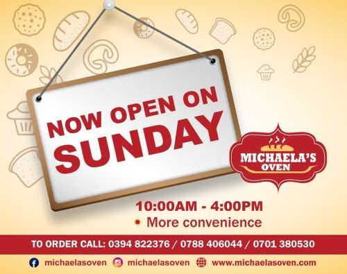 We are now open on Sunday to create more convenience to our customers.